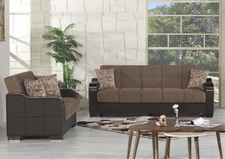 Uptown Collection Ucsbbnf Package Containing Sofa Bed And Convertible Love Seat With Matching Pillows Storage Under The Seat Curved Wood-like Arms Polished