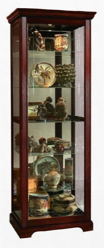 20717 Curio Cabinet With Two-way Felt-lined Sliding Door Lock Mirrored Back And Adjustable Glass Shelves In Victorian Cherry
