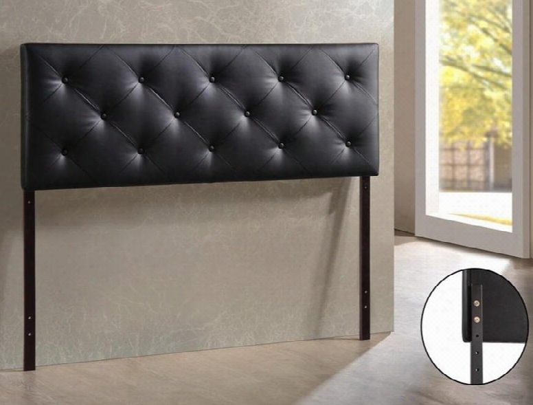 Baxton Studio Bbt6431-black-hb-queen Bedford Headboard With Button-tufting Foam Padding Rubberwood Frame And Faux Leather Upholstery In