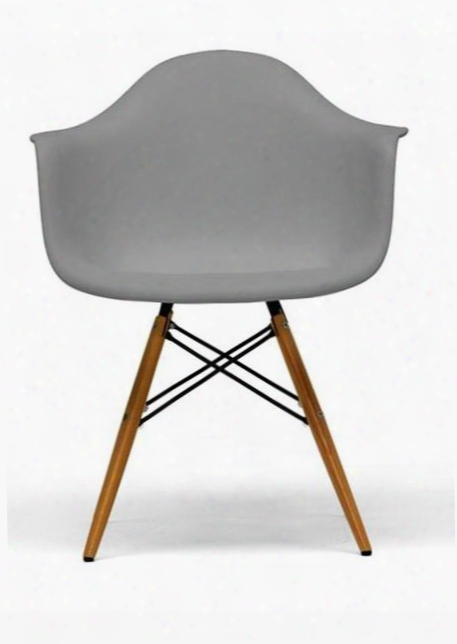 Baxton Studio Dc-866-grey Pascal Mid-century Modern Shell Chair With Tapered Legs Steel Hardware Molded Plastic Shell Seat And Non-marking