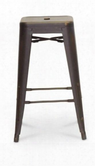 Baxton Studio M-94115-26ac-bs French Inustrial Modern Counter Stool With Black Plastic Non-marking Feet Stackable Design And Powder-coated Steel In Antique