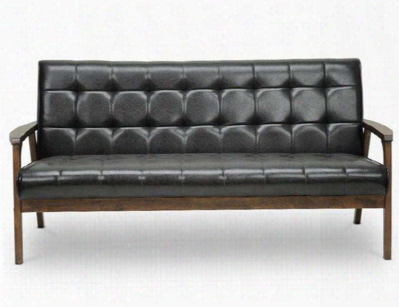 Baxton Studio Togo Sf-109-541  Mid-century Masterpieces Sofa With High-density Polyurethane Foam Cushioning Solid Rubberwood Construction And Faux Leather