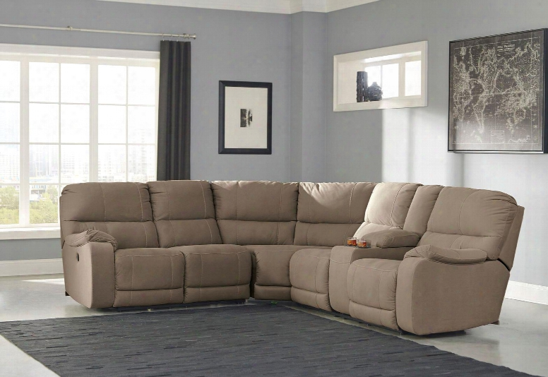 """Bohannon 57403-90-77-63 143"""" Wide Sectional Sofa With Right Arm Double Reclining Loveseat Storage Console And Cup Holders With Usb Port In"""