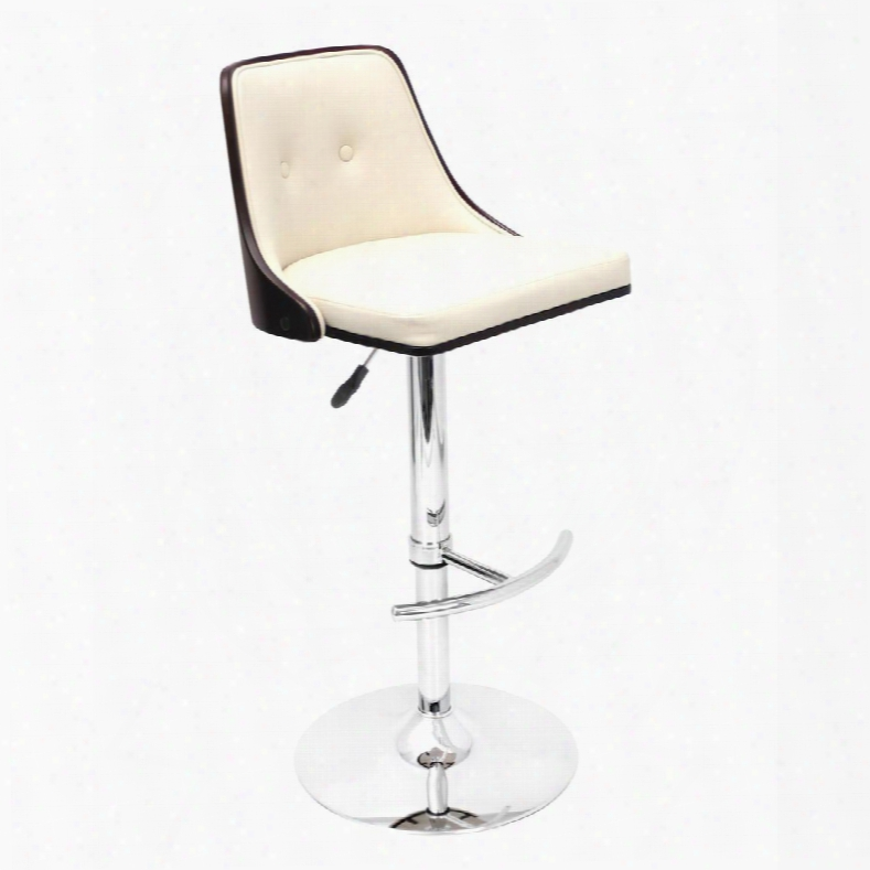 Bs-jy-nu Wg+cr Nuevaheighta Djustable Mid-century Modern Barstool With Swivel In Wenge And