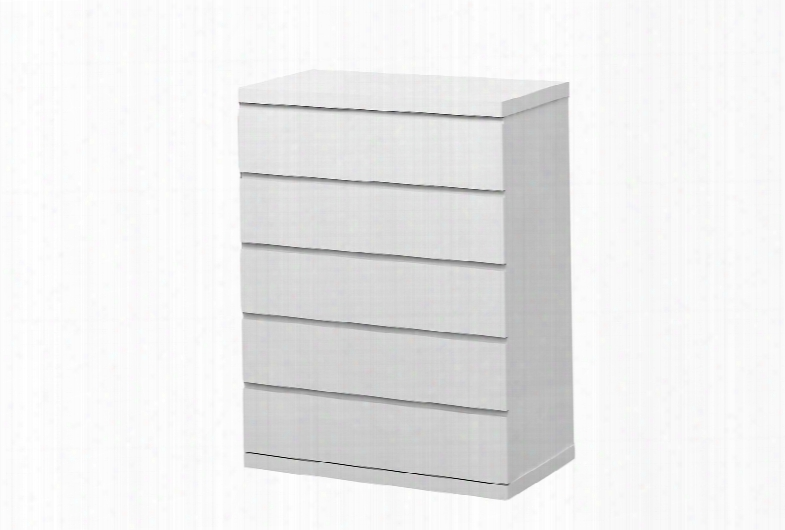 Cd1207-wht Anna Chest Of 5 Drawers High Gloss