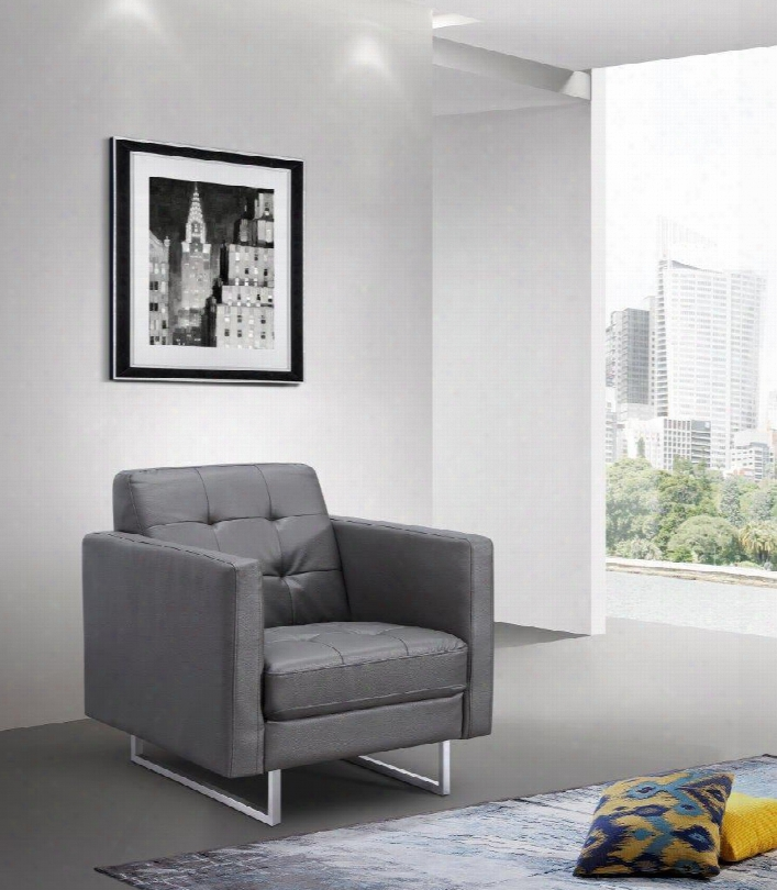 Ch1195p-gry Giovanni Chair Gray Fauux Leather Stainless Steel