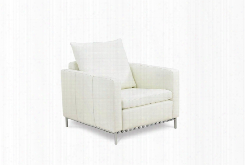 Ch1251l-wht Linea Chair White Leather Chrome Frame And