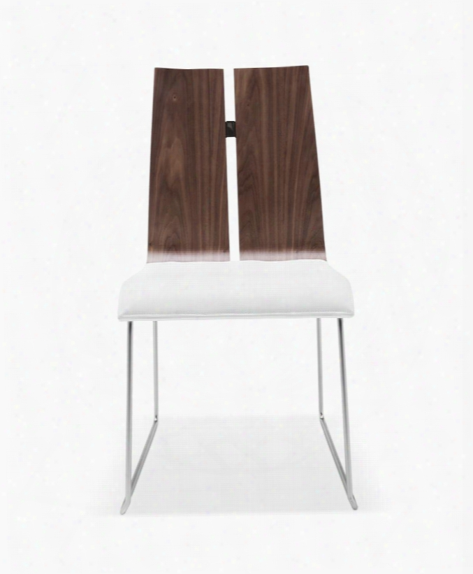 Dc1191-wlt-wht Lauren Dining Chair. Natural Walnut Veneer White Faux Leather. Metal Frame With Brushed Nickel