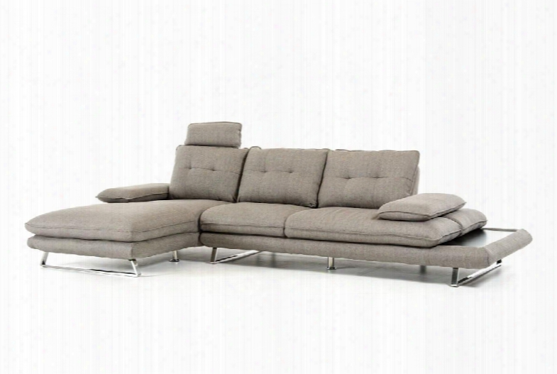 "Divani Casa Porter Collection Vgmb1508-gry 132"" 2-piece Fabric Sectional With Left Arm Facing Chaise And Right Arm Facing Sofa In"