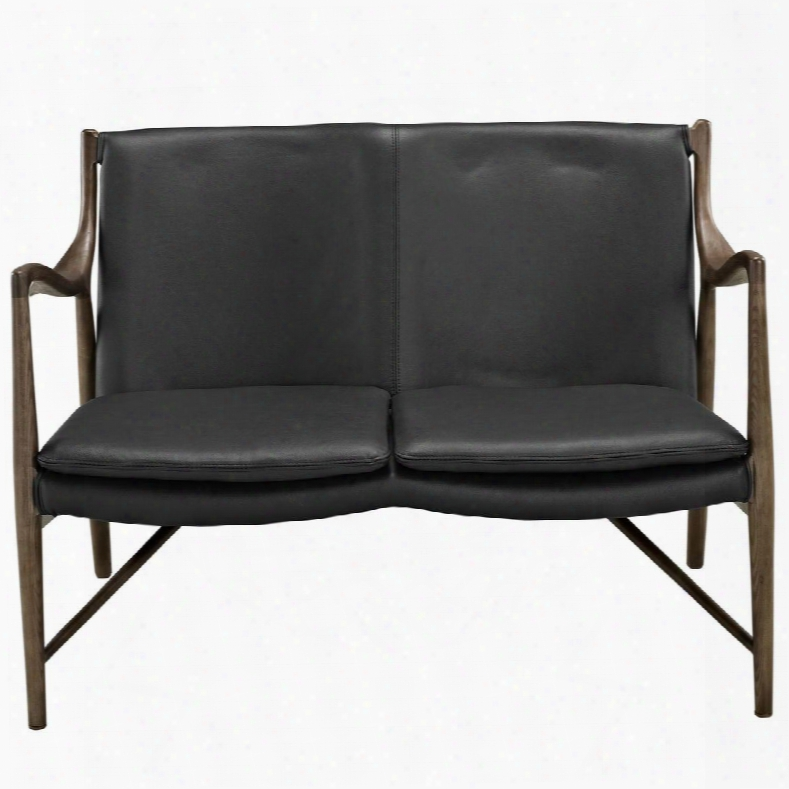 Eei-1664-wal-blk Makeshift Leather Loveseat In Walnut Black
