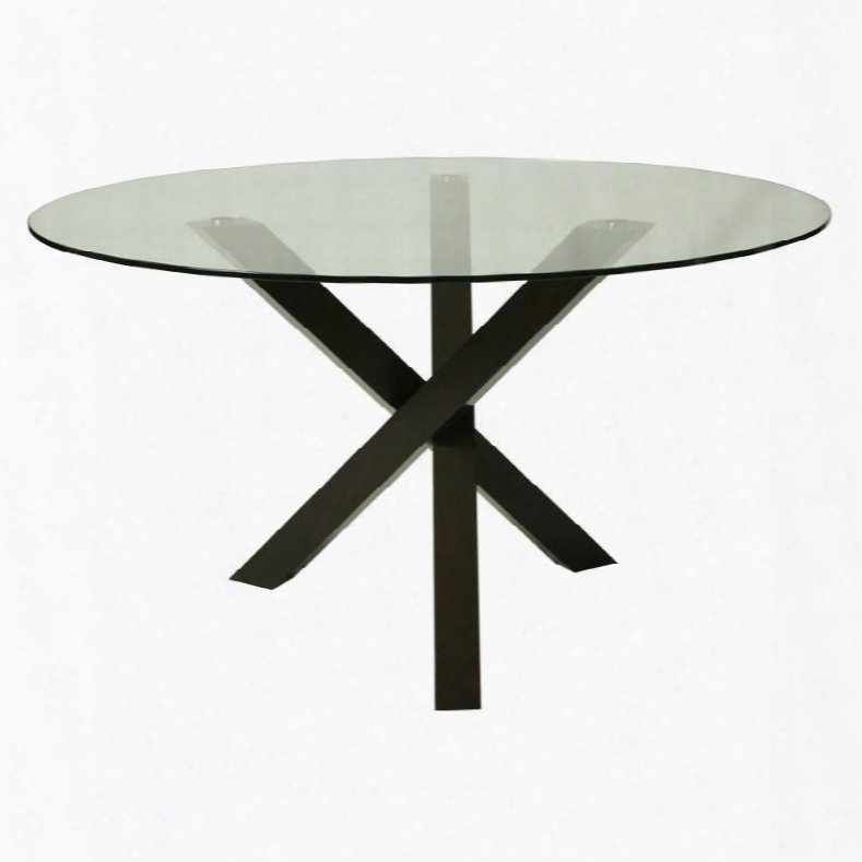 """Ef-510-542 1effervescence Round Dining Table With 54"""" Glass Top And Dimensional Base In Ballarat Black"""