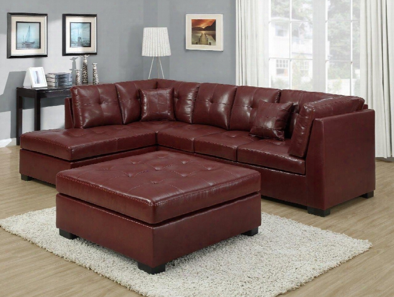 I 8361rd Ottoman - Red Bonded