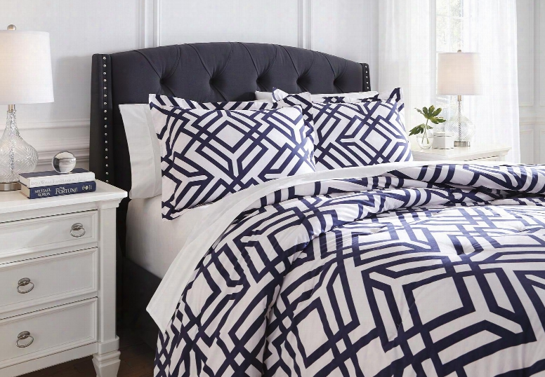 Imelda Q709-03k 3 Pc King Size Comforter Set Includes 1 Comforter And 2 Standard Shams With Geometric Design And Cotton Material In Navy