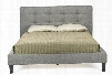 Baxton Studio BBT6326-Full-Grey Quincy Platform Bed with Tapered Wooden Legs Polyurethane Foam Padding Tufted Headboard and Fabric