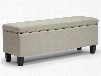Baxton Studio Y-165-Beige-OTTO Solippa Modern Storage Ottoman with Tapered Plastic Legs Antique Brass Tack Trim Non-Marking Feet Linen-Like Poly Blend