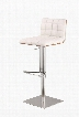 LCOSSWBAWHB201 Oslo Adjustable Brushed Stainless Steel Bar stool in White Pu with Walnut