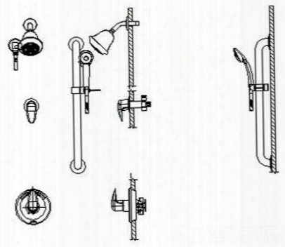 T13h322-20 Universal Dual Shower Trim Diverter Hand Shower And Grab