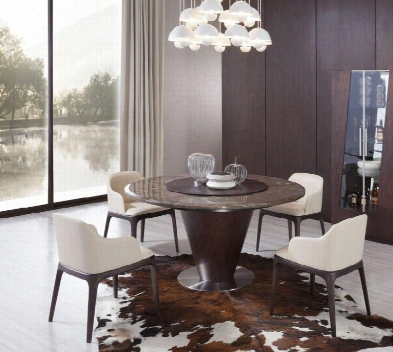 """Vgwce550tcch Modrest Margot 59"""" Round Dining Table + 4 Chairs In Brown"""