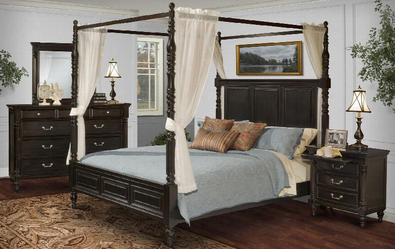 00222wcbdmn Martinique 4 Piece Canopy Bedroom Set Through  California King Bed Dresser Mirror And Nightstand In Rubbed