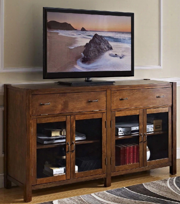 """10-707-15h Giverny 65"""" Tv Console With Two Shelves Two Drawers Four Doors Handles And Block Legs In"""