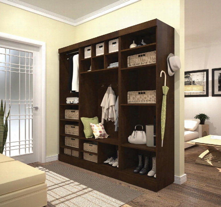 """26873-69 Pur 86"""" Mudroom Kit With 20 Open Storage Sections And Bench In"""