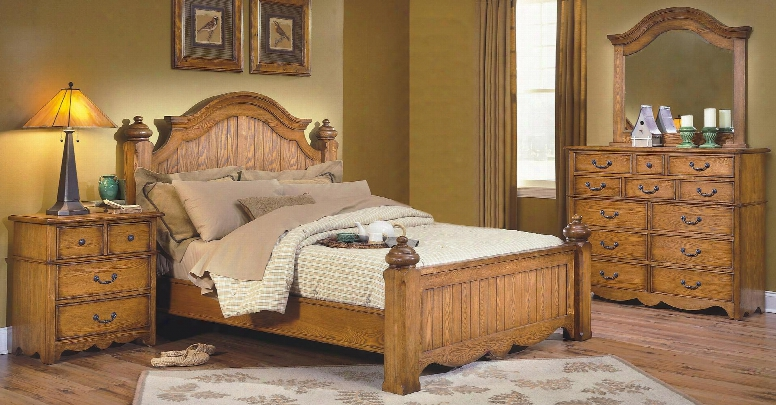 4431wbdmn Hailey 4 Piece Edroom Set With California King Poster Bed Dresser Mirror And Nightstand In