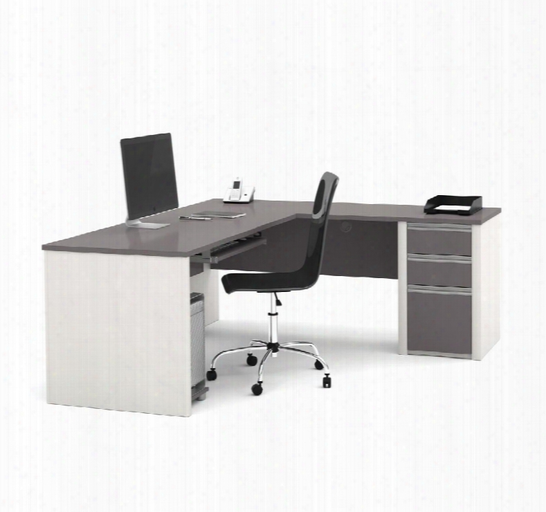 93880-59 Connexion L-shaped Workstation Kit With Scratch And Stain Resistant Surface In Slate And