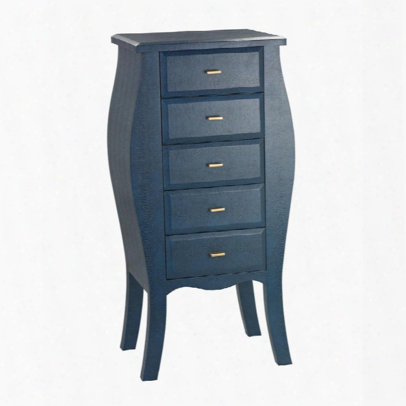 "Accent Dable Collection 180-004 19"" Chest With 5 Drawers Gold Metal Hardware Bow Design Wood Construction And Faux Shagreen Material In Navy"