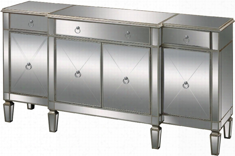 "Bodrum Collection 6043618 70"" Buffet With 3 Drawers 4 Doors Silver Ringed Handles Tapered Legs And Mirrored Panels In Champagne Silver Leaf"