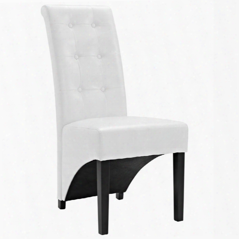 """Eei-1406-whi Preside 40"""" Diinng Side Chair With Stitched Detailing Faux Leather And Button Tufting In White"""