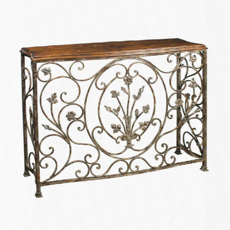 """Floral Scroll Collection 51-0673 44"""" Console With Rectangular Wood Top Floral Design And Metal Construction In Iron Annd Walnut"""