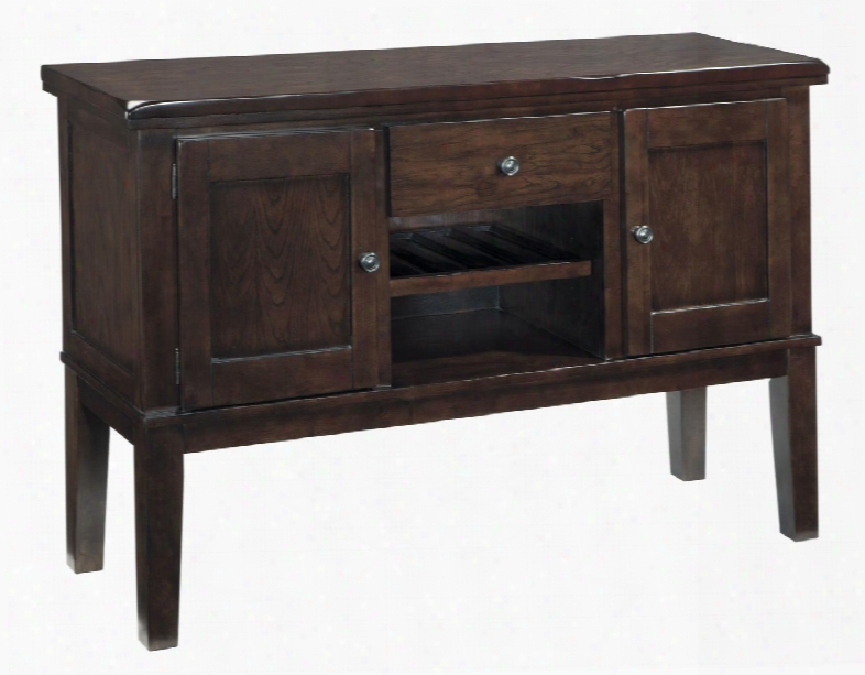 """Haddigan D596-60 56"""" Dining Unoccupied Space Server With Adjustable Wine Rack And Shelf Tapered Legs And Rounded"""