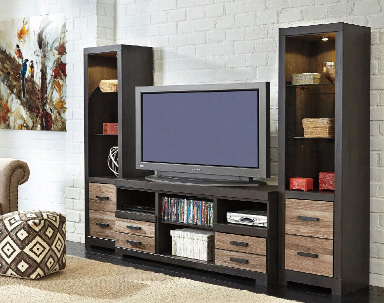 """Harlinton W3252ps Entertainment Center With 63"""" Wide Large Tv Stand And Two 72.17"""" Tall Piere Cabinets In Warm Grey"""