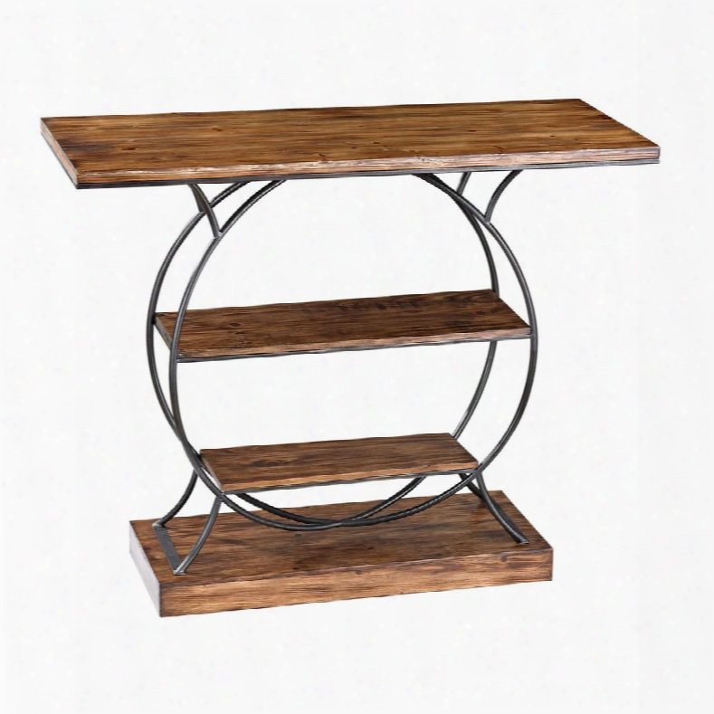 "Leominster Collection 138-113 39"" Console With 2 Shelves Natural Wood Top And Iron Frame In Medium Oak And Restoration Grey"