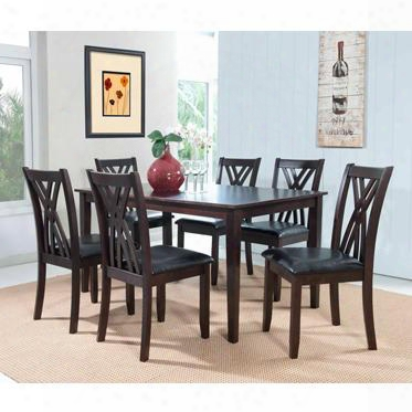 "Masten Collection 358-730a 30"" 7 Piece Dining Table And Chairs With Oversized Block Tapered Legs Black Faux Leather Seat And Arced X-style Chair Backs In"