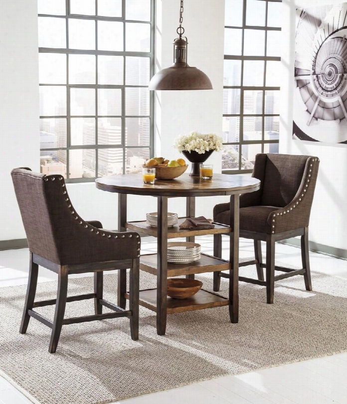 """Moriann D608-13-424 3-piece Dining Room Set With Round Counter Dining Table And Two 24"""" High Upholstered Barstools In Dark Brown"""