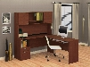 90425-76 Flame L-Shaped Workstation with Simple Pulls Two Drawers and Two Doors in Cognac