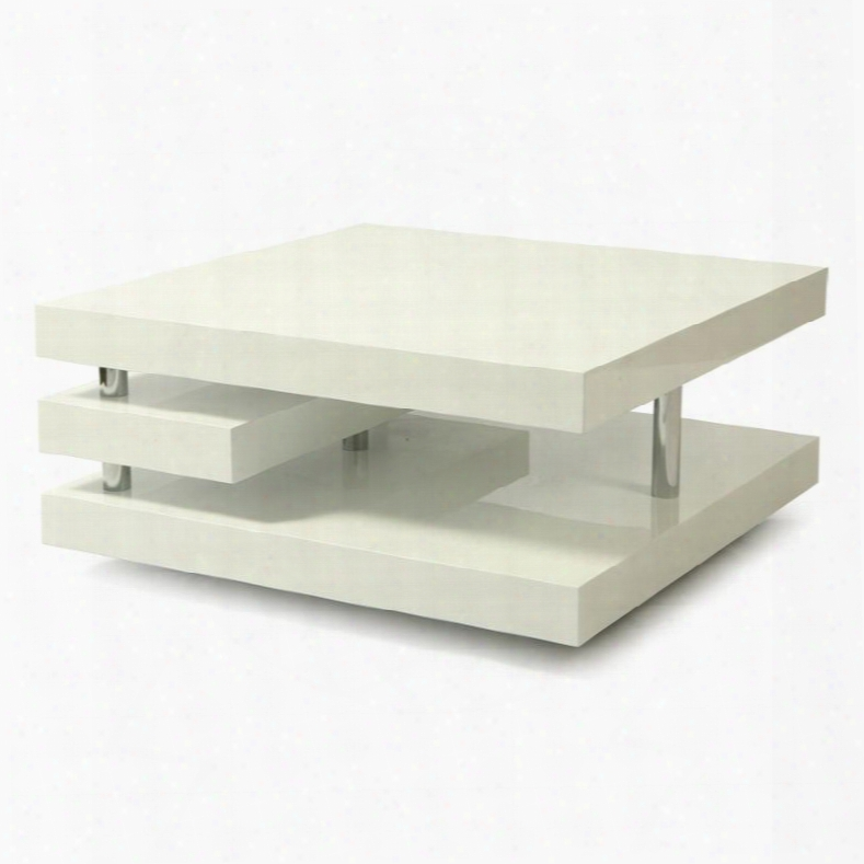 Qlvy4157955 Viceroy Coffee Table In Chrome/white High Gloss Wood