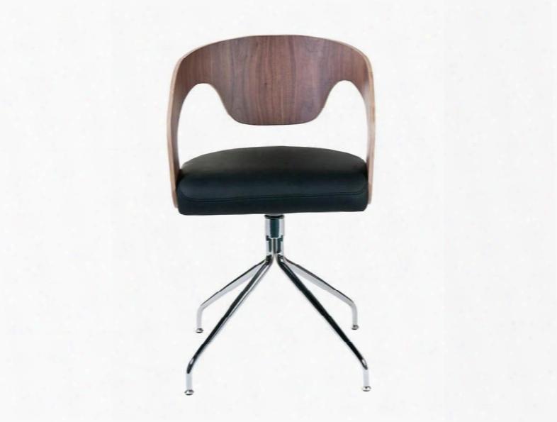 Set Of Two Bernice Swivel Chair In Walnut & Black Design By Euro Style