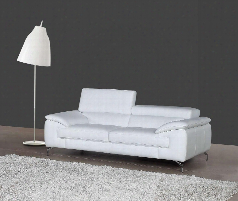 """A973 Collection 1790611-s 77"""" Italian Leather Sofa With 2 Independent Ratchet Headrest Padded Arms Stitching Details In"""
