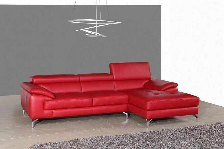 A973b Collection 179061-rhfc Italian Leather  Mini Right Facing Sectional Sofa With 3 Independent Ratchet Headrest In