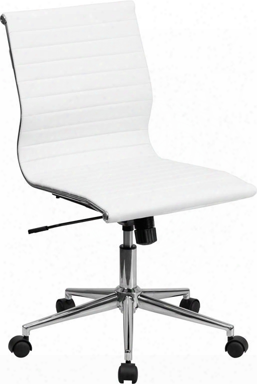 Bt-9836m-2-wh-gg Mid-back Armless White Ribbed Upholstered Leather Conference