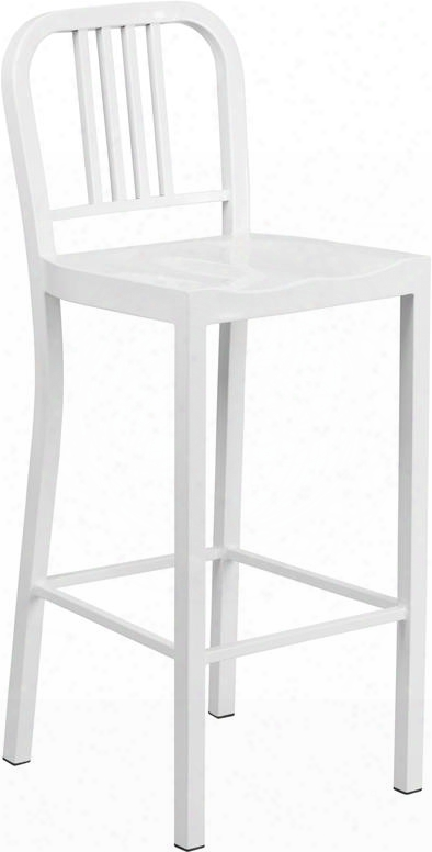 "Ch-31200-30-wh-gg 30"" Counter Height Bar Stool With Vertical Slat Back Protective Plastic Prevail Over  Glides Footrest And Powder Coat Finish In"