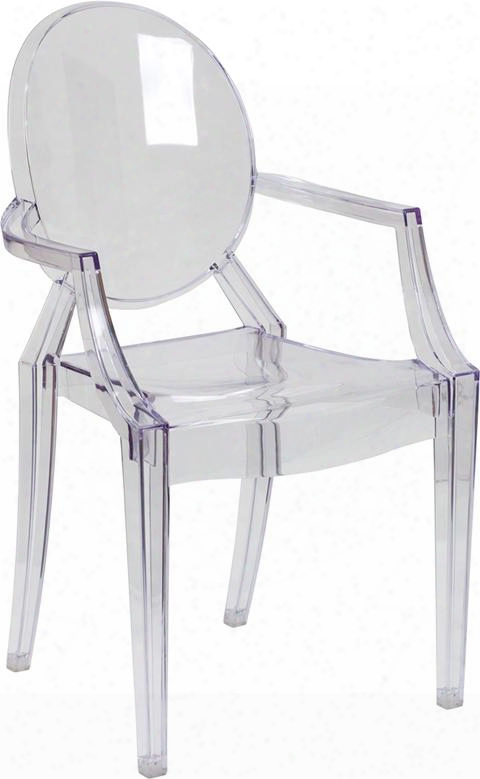 Fh-124-apc-clr-gg Ghost Chair With Arms In Transparent