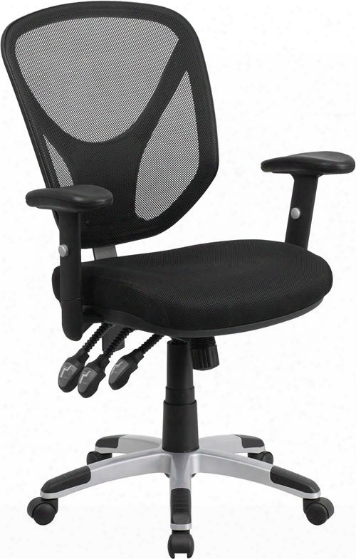 Go-wy-89-gg Mmid-back Black Mesh Chair With Triple Paddle Control And Height Adjustable