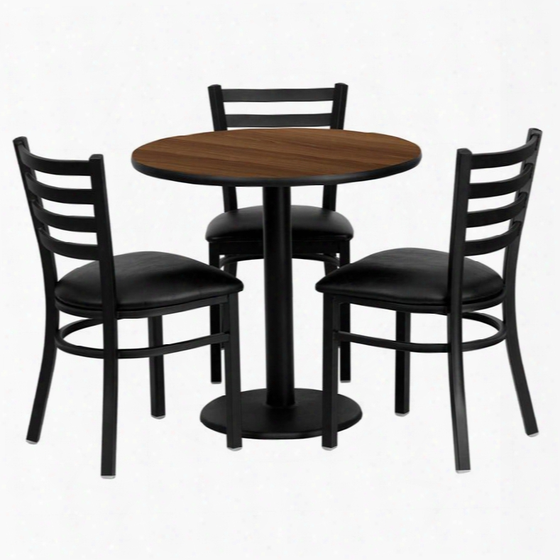 Md-0002-gg 30' Round Walnut Laminate Table Set With Ladder Back Metal Chair And Black Vinyl Seat Seats