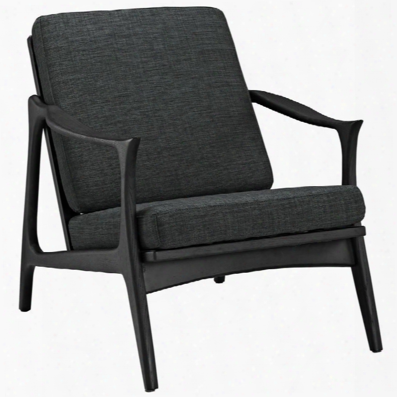 """Pace Collection Eei-1447-blk-gry 32"""" Armchair With Removable Cushions Solid Ash Wood Frame And Fabric Upholstery In Black Grey"""