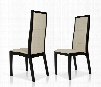 Donna Collection VGGU9007CH-BLKOAK Set of 2 Contemporary Leatherette Dining Chairs in Cream and Black