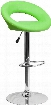 "DS-811-GRN-GG 32"" -40.75"" Bar Stool with Swivel Seat Round-Orbit Design Chrome Base Footrest Ring Gas Lift Adjustable Height and Vinyl Upholstery in Green"