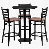 MD-0013-GG 30' Round Black Laminate Table Set with Ladder Back Metal Bar Stool and Cherry Wood Seat Seats